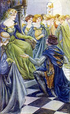 Vintage Anne Anderson Illustration--Tales From Chaucer--Holding Court