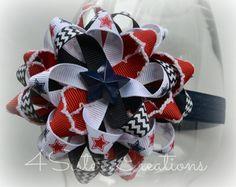 4th of July Patriotic Flower Loop Bow with Navy and White Custom Chevron Print Ribbon on Elastic Headband