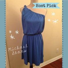 Michael Stars Blue Dress - Size 2 (8/10) ⭐ HOST PICK ⭐ Michael Stars blue dress.  Size 2 (size 2 fits an 8 - 10).  NWT.  One strap (twisted detail).  Super soft cotton.  Has stretch.  Stretch waistband. Michael Stars Dresses One Shoulder