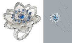 """de Boucheron """"Fleurs des Indes"""" : Nymphea ring in white gold, mother of pearl, diamonds, and sapphires."""