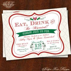 101 best christmas wedding invitations images on pinterest