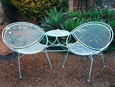 Vintage SALTERINI Tete A Tete Lounge Chair Set Table MID CENTURY MODERN Outdoor