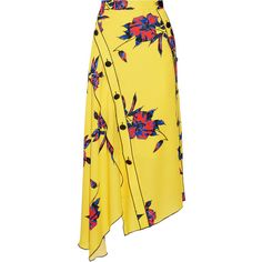 Proenza Schouler Asymmetric floral-print silk-crepe wrap skirt ($1,135) ❤ liked on Polyvore featuring skirts, bottoms, saias, flounce skirt, flouncy skirt, floral print skirt, colorful skirts and wrap skirts