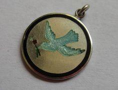 VINTAGE-ANTIQUE-STERLING-SILVER-ENAMEL-BLUE-BIRD-PEACE-DOVE-CHARM