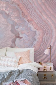 Violet and pink Agate Geode wallpaper for the bedroom