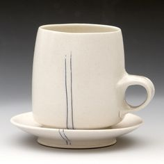 Tea Cup and Saucer, thrown porcelain with inlaid cobalt, 8oz by white bike ceramics, via Flickr