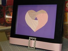 Iris Fold paper heart for Paige's room.  With vintage rhinestone accent.