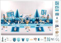 Mit Fischernetzen, Treibholz und Leuchttürmen gestalten Sie eine tolle maritime Tischdekoration für Ihre Kommunion/-Konfirmationsfeier.