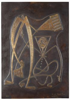 Max Ernst France 1891-1976 Relief. (d)  Signed Max Ernst and numbered 10/12. Bronze 40.3 x 28.3 cm.