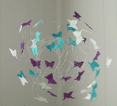 Art Mobile, Nursery Baby Girl Mobile, Butterfly Mobiles, Teal and Purple Hanging Baby Mobile, Crib Mobiles, Baby Gift