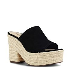 Nine West Skyrocket Platform Mule ($60) ❤ liked on Polyvore featuring shoes, black fabric, black wedge shoes, black mule shoes, wedge mules, nine west shoes and wedge mules shoes