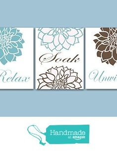 Blue Brown Floral Bathroom Wall Art,Teal Brown Bathroom Wall Art,Brown Aqua Floral Wall Art,Aqua Floral Bathroom Wall Art- UNFRAMED set of 3 PRINTS (NOT CANVAS) from Sweet Blooms Decor http://www.amazon.com/dp/B01AKALJ9K/ref=hnd_sw_r_pi_dp_Q4C7wb184JK3B #handmadeatamazon