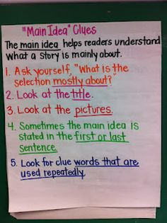 Main Idea Clues: Adventures of a Grade Teacher: Reading/Writing Workshop Must Haves Reading Lessons, Reading Strategies, Reading Skills, Teaching Reading, Reading Comprehension, Learning, Teaching Ideas, Reading Activities, Comprehension Strategies