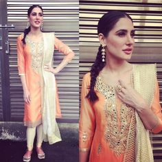 Nargis Fakhri wearing Amy Billimoria, Isharya and Fizzy Goblet shoes for the promotions of Banjo