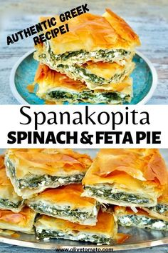 Authentic Greek Spinach and Feta Pie - Spanakopita Greek Spinach Pie, Spinach And Feta, Mediterranean Diet Recipes, Mediterranean Dishes, Mediterranean Appetizers, Vegetarian Recipes, Cooking Recipes, Healthy Recipes, Healthy Food