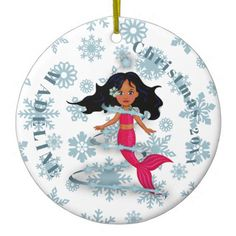 Shop Christmas Snowflake Cute Mermaid Photo White Ceramic Ornament created by Just_Fine_Designs. Mermaid Gifts, Cute Mermaid, Christmas Snowflakes, Christmas Tree Ornaments, Mermaid Home Decor, Mermaid Ornament, Mermaid Photos, Photo Blue, White Elephant Gifts