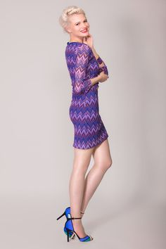 https://www.cityblis.com/4005/item/9197 | Nikki zigzag, textured bodycon dress in Purple, maroon - $113 by Arzu Kara | Stunning fitted dress with 3/4 sleeves. Fully lined with a cobalt blue soft poly. The zigzagged material strechy enough to fit you at the right places.  Model is a UK size 10, 5 ft 10 and wearing a size Small Machine washable and made in England to the highest quality | #Dresses