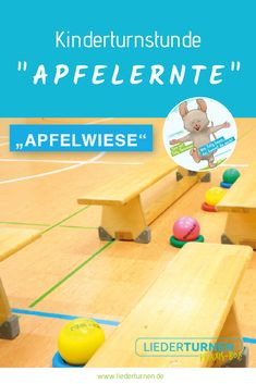 """Kinderturnstunde """"Apfelernte"""" A children's gymnastics lesson on the topic of autumn with many ideas for games, movement landscapes and constructions. Have fun at night in the kindergarten, in the kindergarten or at home! Childrens Gym, Red Words, Apple Harvest, Gym Classes, Word Sorts, Problem Solving Skills, Swimming Pool Designs, Health Lessons, Math Literacy"""