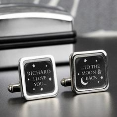 Personalised To the Moon and Back Cufflinks Personalised this beautiful set of 'To the Moon and Back Cufflinks' for a romantic keepsake gift for the special man in your life Kids Craft Box, Personalized Valentine's Day Gifts, Personalised Baby, Anniversary Gifts For Him, Gifts For Wedding Party, Party Gifts, Wedding Ideas, Online Gifts, Valentine Day Gifts