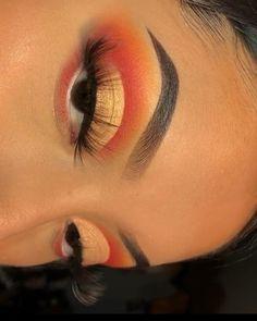 Dope Makeup, Baddie Makeup, Makeup Eye Looks, Eye Makeup Steps, Eye Makeup Art, Colorful Eye Makeup, Skin Makeup, Eyeshadow Makeup, Orange Eye Makeup