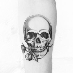 Black and Grey Skull with Rose Tattoo