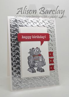 Gothdove Designs - Alison Barclay - Stampin' Up! Australia - CAS(E) This Sketch - Stampin' Up! Boys Will Be Boys #stampinup #robot #birthday #card #stampinupaustralia #stampinupsouthpacific