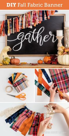 fall fabric crafts Get ready for fall with an easy DIY banner! Cut fall fabric into long strips and fold in half. Pull the fabric tails through the loop around the twine to secure. (Larks-head or cow-hitch knots work well). Hang and enjoy! Fall Banner, Diy Banner, Fall Garland, Fall Bunting, Thanksgiving Banner, Thanksgiving Decorations, Fall Home Decor, Autumn Home, Holiday Crafts