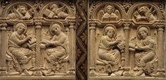 The Four Evangelists with their symbols. Ivory relief, Germany, c.800 AD