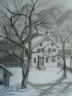 Landscape Pencil Drawings, Landscape Sketch, Pencil Art Drawings, Cool Art Drawings, Art Drawings Sketches, Easy Drawings, Sketch Drawing, Landscape Drawing Easy, Easy Nature Drawings