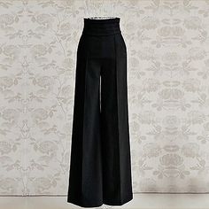 Lady Polyester High Waist Palazzo Trousers Flare Wide Leg Pants S M L XL XXL