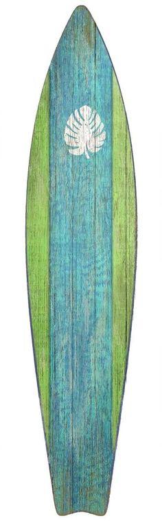 Surfboard Green Wood Wall Art: Beach Decor Coastal Decor Nautical Decor Tropical Decor Luxury Beach Cottage Decor