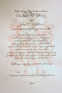 Marriage Certificate Hand Painted And Hand Calligraphy