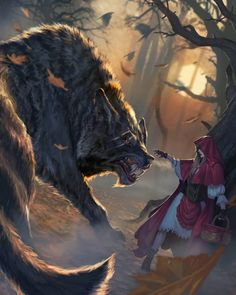 Red Riding Hood and ginormous wolf Dark Fantasy Art, Fantasy Kunst, Fantasy Wolf, Fantasy Artwork, Dark Art, Mythical Creatures Art, Fantasy Creatures, Red Riding Hood Wolf, Werewolf Art