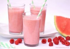 Refreshing Raspberry and Watermelon Smoothie Recipes from Eats Amazing UK - great healthy breakfast idea for kids
