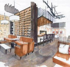 Image result for interior design sketch cafe
