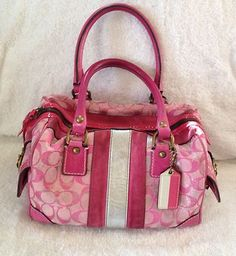 Coach Signature Pink Silver Striped Square Handbag Purse 100 Authentic | eBay