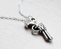 Gun Charm Necklace - Cowboy Cowgirl Gunslinger Charm Necklace Pendant