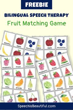 Bilingual speech therapy freebie: This fruit matching game in English and Spanish is great for teaching Spanish words to kids, whether for your speech therapy sessions or for homeschool. Download them free! - Speech is Beautiful #BilingualSpeechTherapy #BilingualActivities #SpanishVocabulary #SpeechisBeautiful #BilingualEducation #BilingualSpanish