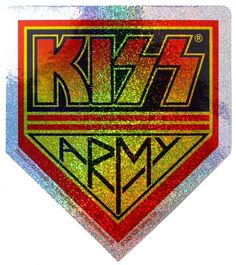 Official Kiss vinyl sticker measuring approx 85mm x 100mm featuring the Army badge design with glitter finish HOTTER THAN HELL Officially Licensed