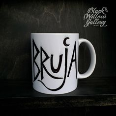 Bruja Witch Mug by Lupe Flores by BlackWillowGallery on Etsy Glass Coffee Mugs, Coffee Cups, Tea Cups, Coffee Is Life, Coffee Shop, Boss Lady Mug, Witch Shop, Witch House, Witches Brew
