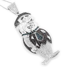 Luxurman Sterling Silver 2 1/4ct TDW Diamond Cartoon Character Necklace