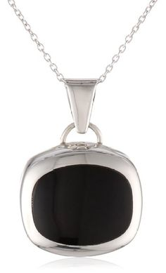 """Sterling Silver Onyx Inlay Square Pendant Necklace, 18"""""""