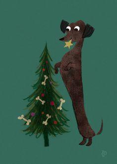 Dachshund Puppies Put a star ⭐️ on top of the Christmas tree Dachshund Breed, Dachshund Art, Daschund, Vintage Dachshund, Dachshund Quotes, Most Popular Dog Breeds, Weenie Dogs, Doggies, Christmas Illustration