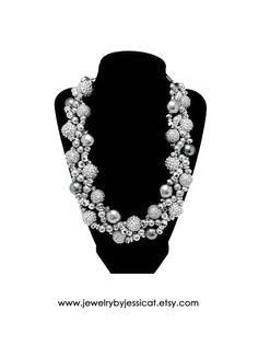 """Who is ready for the Holiday season?! This J by JT """"Petite Twisted Collection"""" necklace is FULL of sparkle! It's all silver pearls, crystals, metal beads, and shiny rhinestone """"disco ball"""" sparkle beads. Stunning and SO sparkly!   PETITE TWISTED Statement Necklace Silver Gray by JewelryByJessicaT,"""