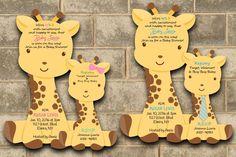 Giraffe Baby Shower Invitation Baby Giraffe Jungle Invitations Boy Girl Twin #newyorkinvitations #BabyShower