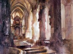 Stephansdom by micorl (deviantart) watercolor Watercolor On Wood, Watercolor Landscape, Watercolor Paintings, Watercolours, Kitsch, Watercolor Architecture, Cityscape Art, Hand Art, Art For Art Sake