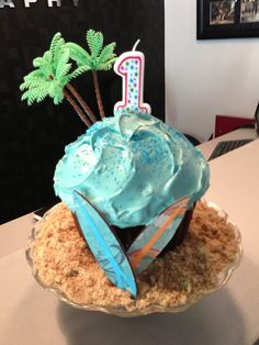 Baby K's First birthday luau - Hawaiian - Beach - Tropical - Surf smash cake!