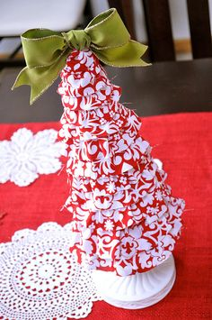 Little Birdie Secrets: foam cone christmas tree tutorial {fabric covered}