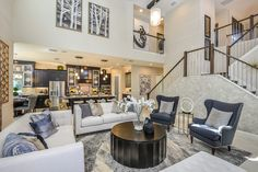 The Grand Room in our Gasparilla model at FishHawk Ranch in Tampa. The staircase makes quite a statement. Tampa Real Estate