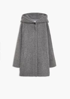 Abrigo lana capucha - Abrigos de Mujer | MANGO